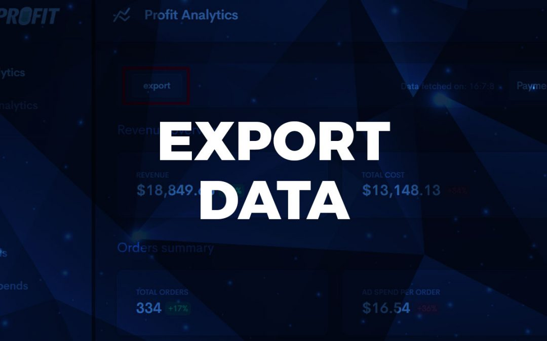 Export data from Profit Analytics and COGG